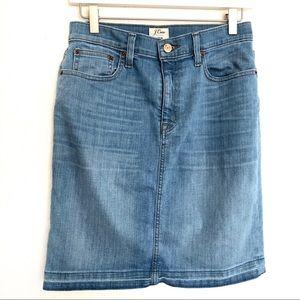 JCrew denim frayed skirt NWOT